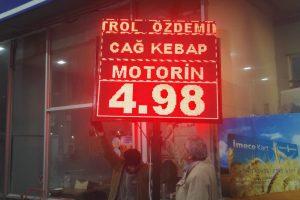 Erzurum Özdemir Petrol Led Tabela (Fiyat Tabelası) Yapım ve Montaj İşi.